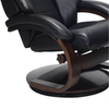 Image of Relax-R Montreal Recliner and Ottoman with Pillow in Black Top Grain Leather