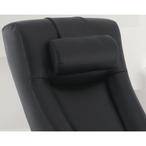 Relax-R Hamilton Recliner and Ottoman with Pillow in Black Top Grain Leather