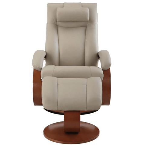 Relax-R Hamilton Recliner and Ottoman with Pillow in Cobblestone top Grain Leather