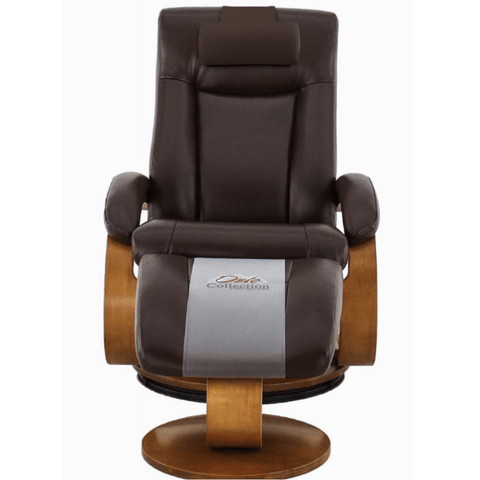 Relax-R Hamilton Recliner and Ottoman with Pillow in Whisky Air Leather