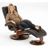 Image of Relax-R Hamilton Recliner and Ottoman in Black Top Grain Leather