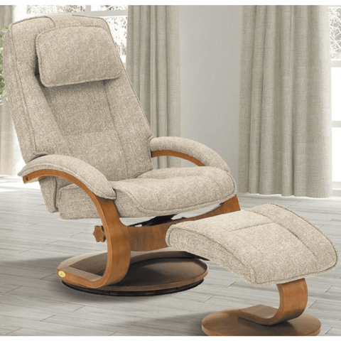 Relax-R Brampton Recliner and Ottoman in Teatro Linen Fabric