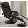 Image of Relax-R Hamilton Recliner and Ottoman with Pillow in Black Top Grain Leather