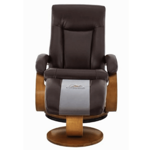 Relax-R Hamilton Recliner and Ottoman in Whisky Air Leather