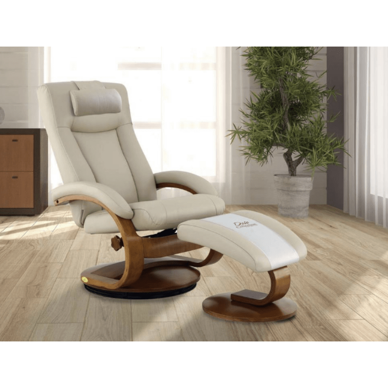 Relax-R Hamilton Recliner and Ottoman with Pillow in Beige Air Leather