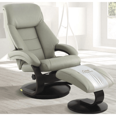 Relax-R Montreal Recliner and Ottoman in Putty Top Grain Leather