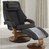Image of Relax-R Montreal Recliner and Ottoman with Pillow in Espresso Top Grain Leather