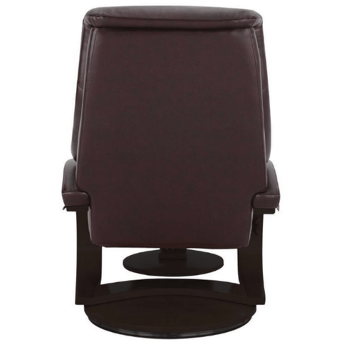 Relax-R Montreal Recliner and Ottoman in Merlot Top Grain Leather