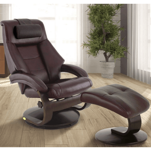 Relax-R Montreal Recliner and Ottoman with Pillow in Merlot Top Grain Leather