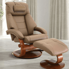 Image of Relax-R Montreal Recliner and Ottoman with Pillow in Sand Top Grain Leather