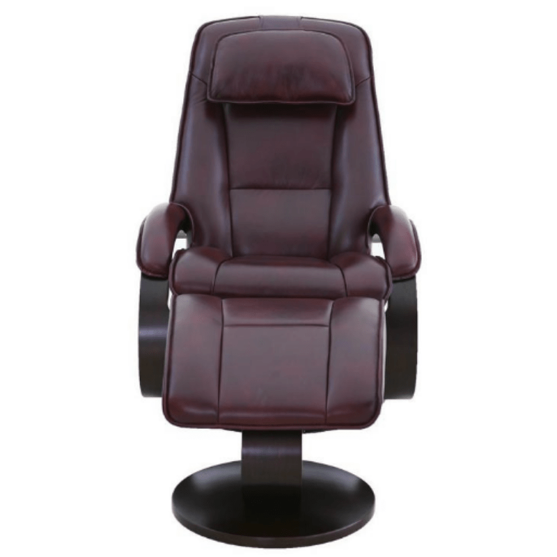 Relax-R Brampton Recliner and Ottoman in Merlot Top Grain Leather