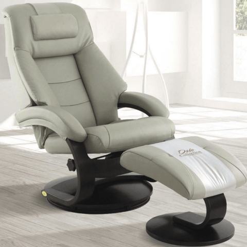 Relax-R Montreal Recliner and Ottoman with Pillow in Putty Top Grain Leather