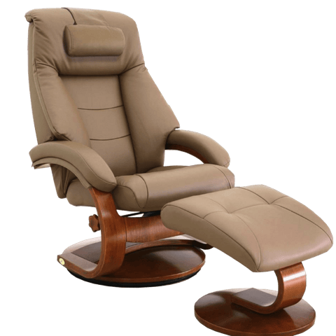 Relax-R Recliner Sand Top Grain Leather Relax-R Montreal Recliner and Ottoman with Pillow