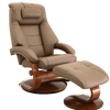 Image of Relax-R Recliner Sand Top Grain Leather Relax-R Montreal Recliner and Ottoman with Pillow