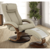Image of Relax-R Hamilton Recliner and Ottoman with Pillow in Cobblestone top Grain Leather