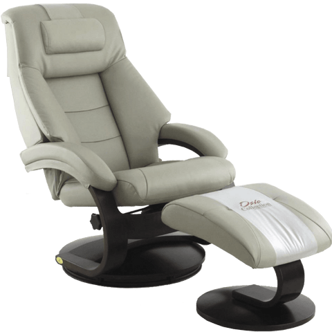 Relax-R Recliner Putty Top Grain Leather Relax-R Montreal Recliner and Ottoman with Pillow