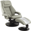 Image of Relax-R Recliner Putty Top Grain Leather Relax-R Montreal Recliner and Ottoman with Pillow