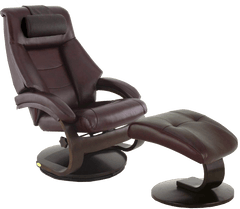 Relax-R Recliner Merlot Top Grain Leather Relax-R Montreal Recliner and Ottoman with Pillow