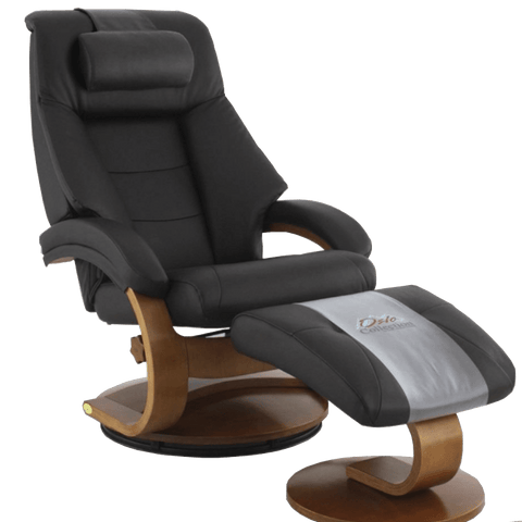 Relax-R Recliner Espresso Top Grain Leather Relax-R Montreal Recliner and Ottoman with Pillow