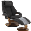 Image of Relax-R Recliner Espresso Top Grain Leather Relax-R Montreal Recliner and Ottoman with Pillow