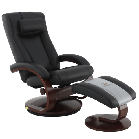 Relax-R Recliner Black Top Grain Leather Relax-R Hamilton Recliner and Ottoman with Pillow