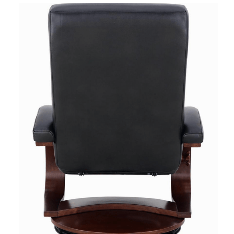 Relax-R Hamilton Recliner and Ottoman in Black Top Grain Leather