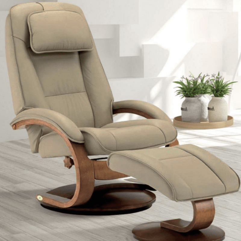 Relax-R Brampton Recliner and Ottoman in Cobblestone Top Grain Leather