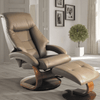 Image of Relax-R Montreal Recliner and Ottoman in Sand Top Grain Leather