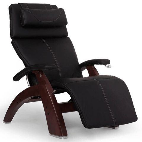 Human Touch Recliner Black Wood / Black Soft Hyde / Free Curbside Delivery + $0.00 Human Touch Perfect Chair PC-420 Classic Plus Recliner