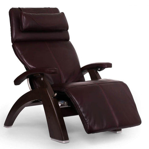Human Touch Recliner Dark Walnut Wood / Burgundy Premium Leather + $500.00 / Free Curbside Delivery + $0.00 Human Touch Perfect Chair PC-610 Omni-Motion Classic Recliner