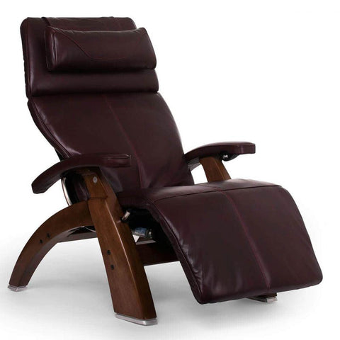 Human Touch Recliner Walnut Wood / Burgundy Premium Leather + $500.00 / Free Curbside Delivery + $0.00 Human Touch Perfect Chair PC-610 Omni-Motion Classic Recliner