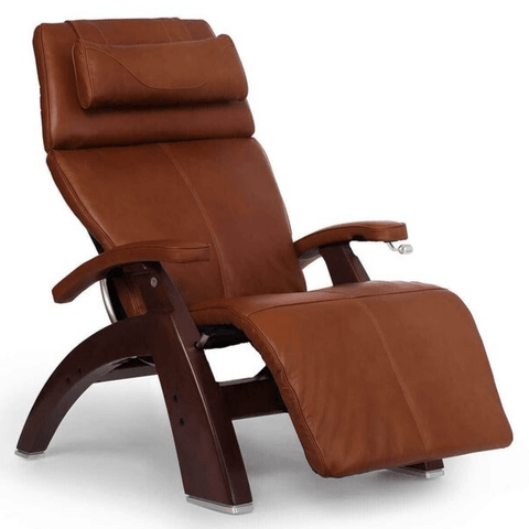 Human Touch Recliner Black Wood / Cognac Premium Leather + $500.00 / Free Curbside Delivery + $0.00 Human Touch Perfect Chair PC-420 Classic Plus Recliner