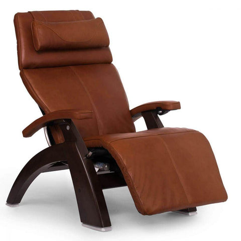 Human Touch Recliner Dark Walnut Wood / Cognac Premium Leather + $500.00 / Free Curbside Delivery + $0.00 Human Touch Perfect Chair PC-610 Omni-Motion Classic Recliner
