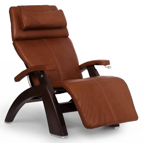 Human Touch Recliner Dark Walnut Wood / Cognac Premium Leather + $500.00 / Free Curbside Delivery + $0.00 Human Touch Perfect Chair PC-420 Classic Plus Recliner