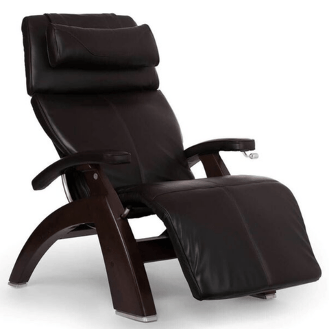 Human Touch Recliner Dark Walnut Wood / Espresso Premium Leather + $500.00 / Free Curbside Delivery + $0.00 Human Touch Perfect Chair PC-420 Classic Plus Recliner