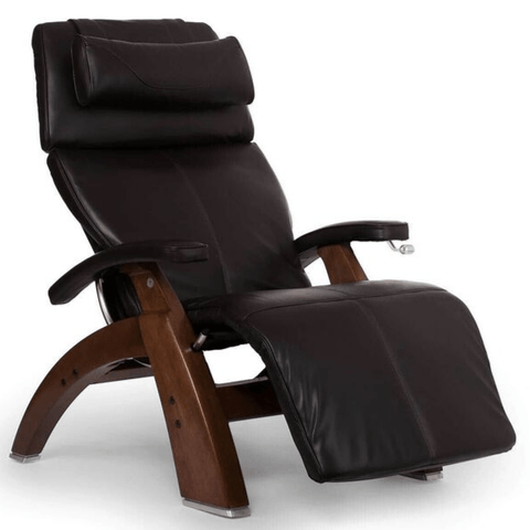 Human Touch Recliner Walnut Wood / Espresso Premium Leather + $500.00 / Free Curbside Delivery + $0.00 Human Touch Perfect Chair PC-420 Classic Plus Recliner