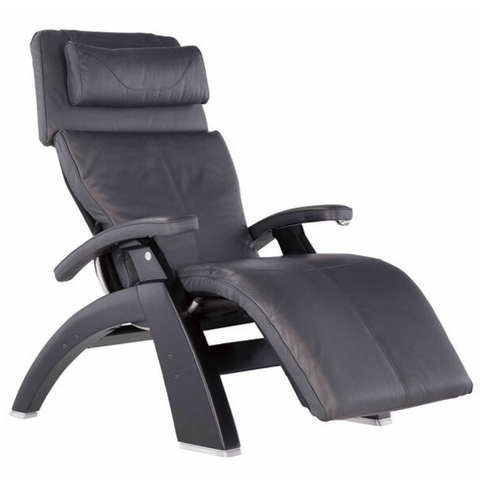 Human Touch Recliner Black Wood / Gray Premium Leather + $500.00 / Free Curbside Delivery + $0.00 Human Touch Perfect Chair PC-420 Classic Plus Recliner