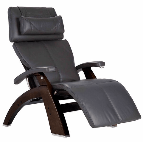 Human Touch Recliner Dark Walnut Wood / Gray Premium Leather + $500.00 / Free Curbside Delivery + $0.00 Human Touch Perfect Chair PC-420 Classic Plus Recliner
