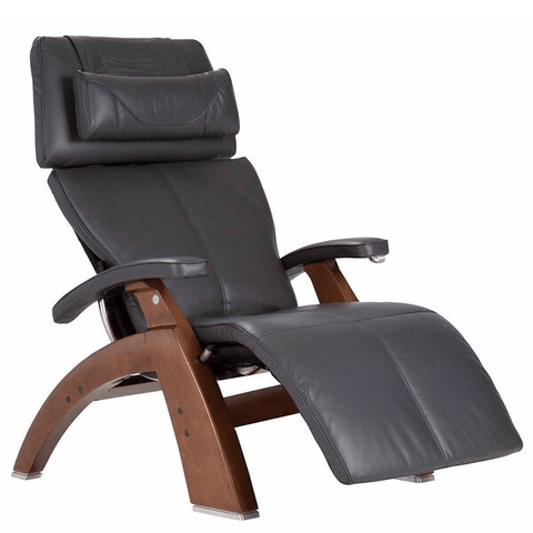 Human Touch Recliner Walnut Wood / Gray Premium Leather + $500.00 / Free Curbside Delivery + $0.00 Human Touch Perfect Chair PC-420 Classic Plus Recliner