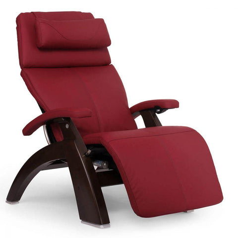 Human Touch Recliner Dark Walnut Wood / Red Leather / Free Curbside Delivery + $0.00 Human Touch Perfect Chair PC-610 Omni-Motion Classic Recliner
