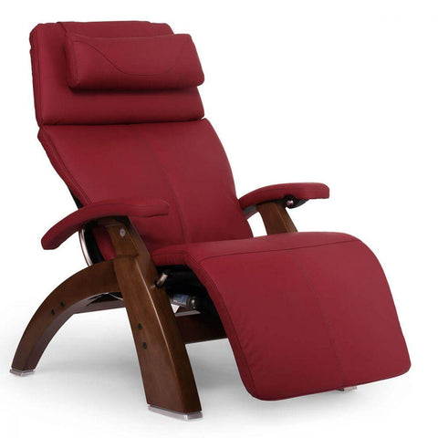 Human Touch Recliner Walnut Wood / Red Leather / Free Curbside Delivery + $0.00 Human Touch Perfect Chair PC-610 Omni-Motion Classic Recliner