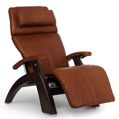 Human Touch Recliner Dark Walnut / Cognac Premium Leather / Free Curbside Delivery + $0.00 Human Touch Perfect Chair PC-LiVE PC-600 Zero Gravity Recliner