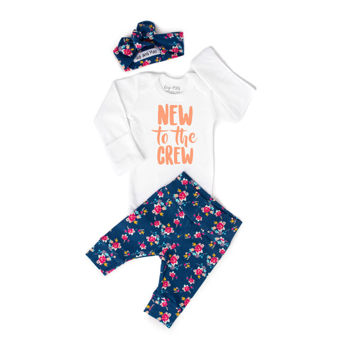 Gigi and Max - New to the Crew  Navy Floral Newborn sets