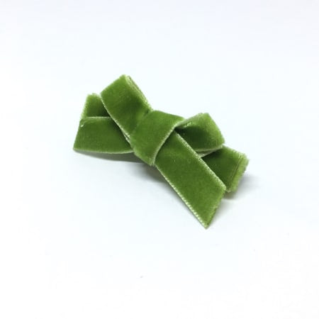 Parrot Green Velvet Mini Hair Bow