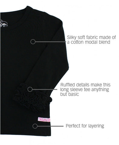 Black Ruffled Long Sleeve Layering Tee