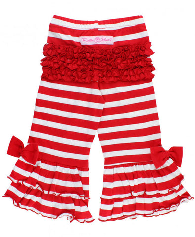 Red & White Stripe Ruffle Flare Pants