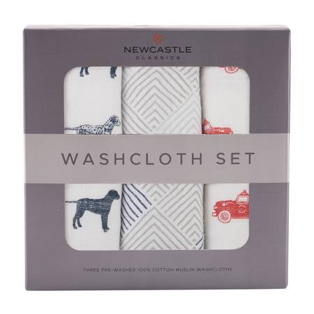 Fire Truck Washcloth-Set of 3