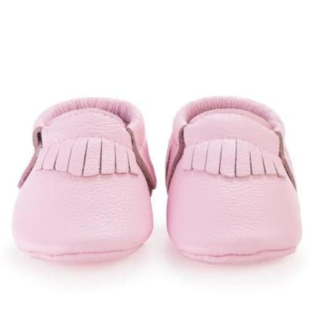 Light Pink Genuine Leather Baby Moccasins