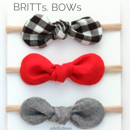 Plaid/ Red Knot Headband - Set of 3