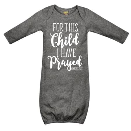 For This Child- Sleep Gown. Heather Grey